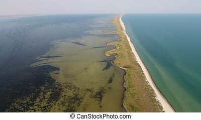 Aerial shot of a straight sand spit with weeds on...