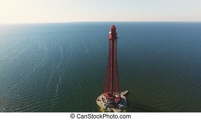 Aerial shot of a sublime lighthouse on the Black Sea shelf...