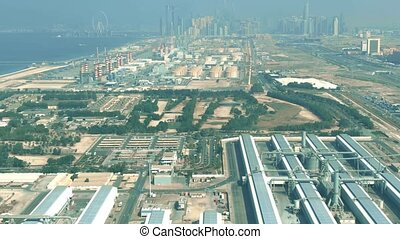Aerial shot of a water desalination facility and a power plant in Dubai, United Arab Emirates UAE