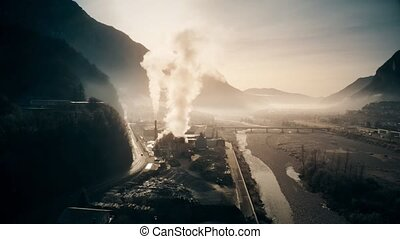 Aerial shot of air polluting plant in the river valley -...