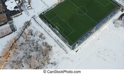 Aerial shot of amateur soccer field. shot of a modern...