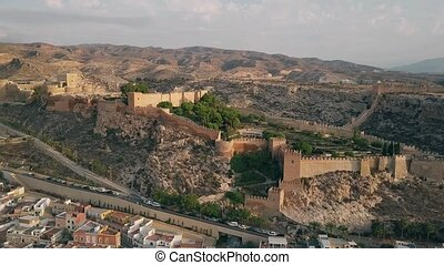 Aerial shot of ancient Alcazaba of Almeria, a fortress in...