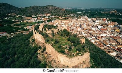 Aerial shot of ancient Corbera Castle, Spain - Aerial shot...