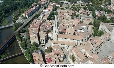 Aerial shot of ancient gothic quarter in Girona - Drone...