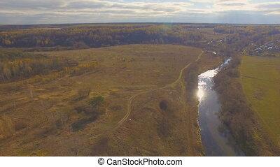 Aerial shot of autumn landscape river