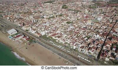 Aerial shot of Barcelona and coast, Spain