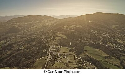 Aerial shot of beautiful hilly scenery of Emilia-Romagna...