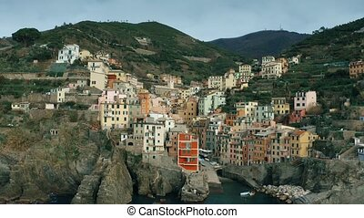 Aerial shot of beautiful houses in famous Riomaggiore...