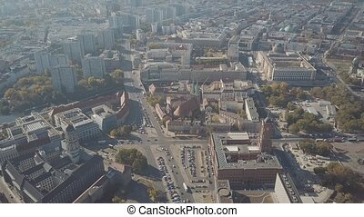 Aerial shot of Berlin involving famous Berliner Dom...