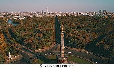 Aerial shot of Berlin Victory Column in Tiergarten Park