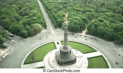 Aerial shot of Berlin Victory Column, major tourist...