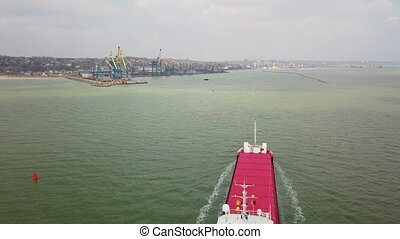 Aerial shot of big ship in sea