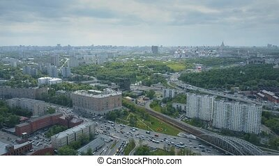 Aerial shot of big traffic jams in Moscow. South western...