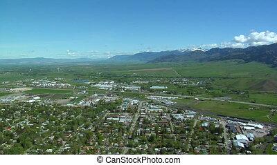 Aerial shot of Bozeman Montana