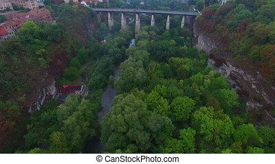 Aerial shot of bridge in canyon