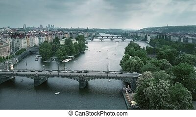 Aerial shot of bridges in Prague across the Vltava river, the Czech Republic
