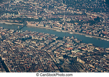 Aerial shot of Budapest - Aerial shot of the central part of...