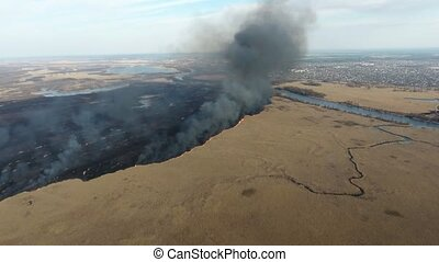 Aerial shot of cane wetland attacked with a firestorm at the...