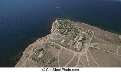Aerial shot of cape Tarhankut - Aerial view of seashore from...