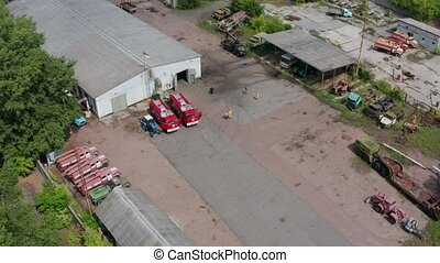 Aerial shot of car park in Chernobyl zone - Drone shot of...