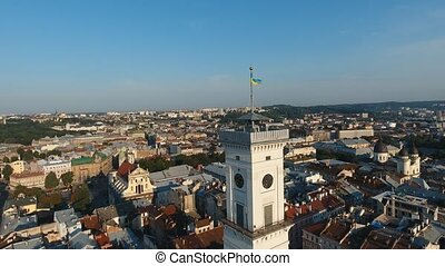 AERIAL: Shot of central part of Lviv city, upper view of main building