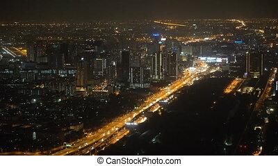 Aerial shot of city at night.