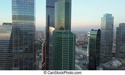 Aerial shot of city downtown with skyscrapers - Aerial -...