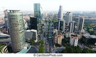 aerial shot of city traffic