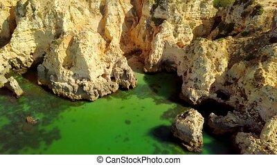 Aerial shot of coastal cliffs - Shot taken with flying drone...