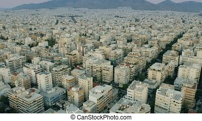 Aerial shot of coastal districts of Athens