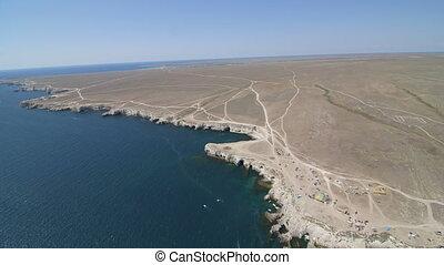 Aerial Shot Of Coastal Region From Hang Glider, Tarhankut,...