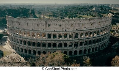 Aerial shot of Colosseum amphitheatre in Rome, Italy