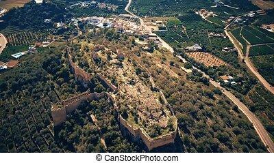 Aerial shot of Corbera Castle ruins in Spain