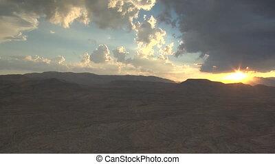 aerial shot of desert near Las Vegas at sunset