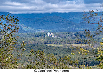aerial shot of downtown Asheville, North Carolina and ...