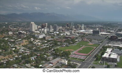 aerial shot of downtown Salt Lake City Utah