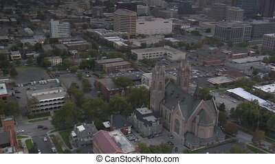 aerial shot of downtown Salt Lake City, sunset, and...