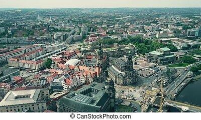 Aerial shot of Dresden center, Germany - Aerial shot of...