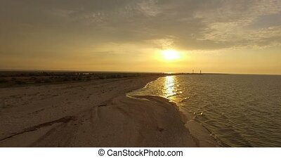 Aerial Shot of Dzharylhach Island Sandy Coast With Splendid Sunset in Summer