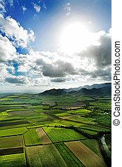 Aerial shot of farmland in the north of Australia