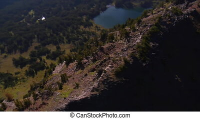 aerial shot of forest, mountains and lake