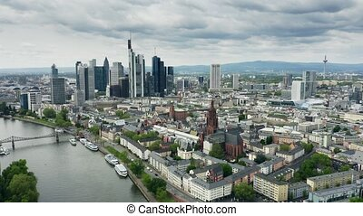 Aerial shot of Frankfurt am Main. Germany - Aerial shot of...