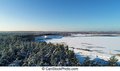 Aerial shot of frozen lake - Aerial shot of natural...