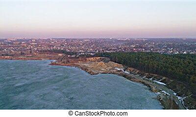Aerial shot of frozen lake - Aerial shot of natural...