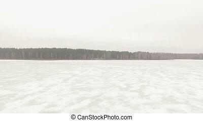 Aerial shot of frozen lake