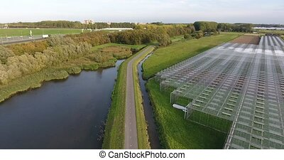 Aerial shot of glasshouse in the Netherlands