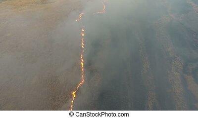 Aerial shot of gray smoke coils rising from flaming Dnipro basin marshes