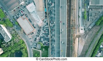Aerial shot of heavy traffic jam on a car road in the rush hour. 4K clip