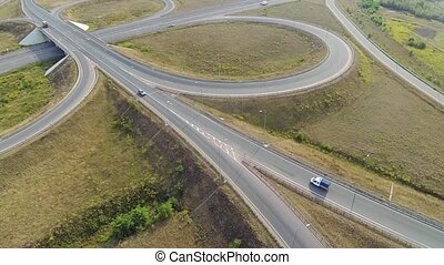 Aerial shot of highway junction