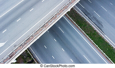 Aerial shot of highway junction.
